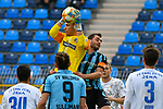 16.02.2020, Carl-Benz-Stadion, Mannheim, GER, 3. Liga, SV Waldhof Mannheim vs. FC Carl Zeiss Jena, <br /> <br /> DFL REGULATIONS PROHIBIT ANY USE OF PHOTOGRAPHS AS IMAGE SEQUENCES AND/OR QUASI-VIDEO.<br /> <br /> im Bild: Jo Coppens (FC Carl Zeiss Jena #22) gegen Kevin Conrad (SV Waldhof Mannheim #4)<br /> <br /> Foto © nordphoto / Fabisch