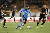 1st November 2019; Leichhardt Oval, Sydney, New South Wales, Australia; A League Football, Sydney Football Club versus Newcastle Jets; Anthony Caceres of Sydney runs at the Jets defence as Ben Kantarovski covers - Editorial Use