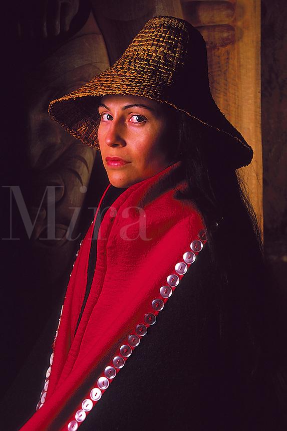 Portrait of a Native Alaskan Tlingit woman in a traditional button blanket. Alaska.