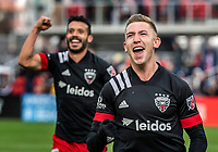 WASHINGTON, DC - FEBRUARY 29: Russell Canouse #4 after scoring celebrates with Junior Moreno #5 of DC United during a game between Colorado Rapids and D.C. United at Audi Field on February 29, 2020 in Washington, DC.