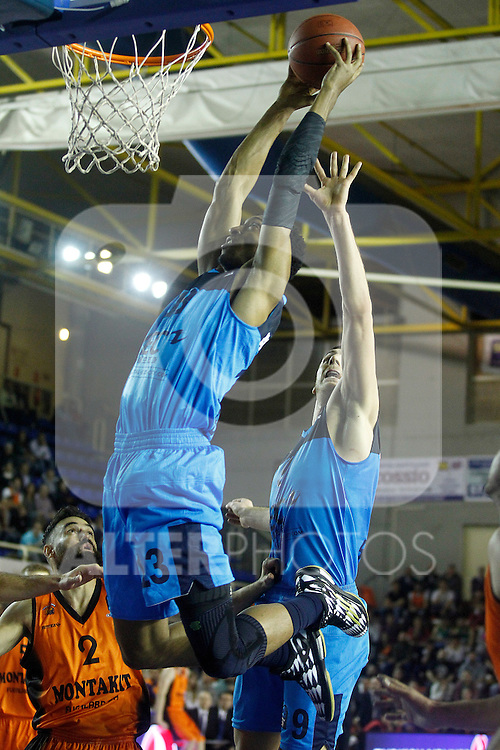 Montakit Fuenlabrada's Marko Popovic (l) and Alba Berlin's Malcolm Miller (c) and Elmedin Kikanovic during Eurocup, Regular Season, Round 6 match. November 16, 2016. (ALTERPHOTOS/Acero)