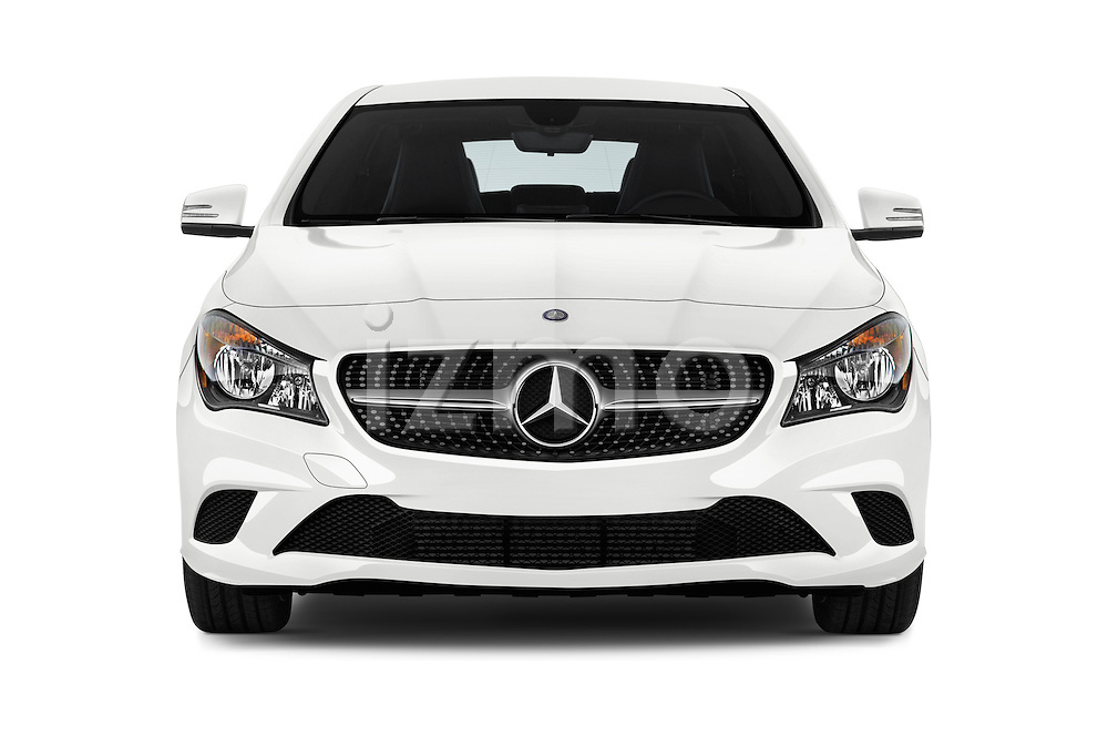 Car photography straight front view of a 2016 Mercedes Benz CLA Class CLA250 4 Door Sedan Front View