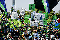 Seattle Sounders fans show support. The San Jose Earthquakes defeated Seattle Sounders FC 4-0 at Buck Shaw Stadium in Santa Clara, California on August 2, 2009.