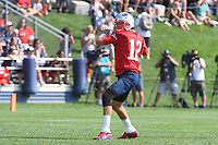 July 27, 2018: New England Patriots quarterback Tom Brady (12) throws a pass at the New England Patriots training camp held on the practice fields at Gillette Stadium, in Foxborough, Massachusetts. Eric Canha/CSM
