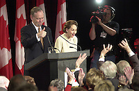Shawinigan, Nov 28, 2000<br /> Reelected Prime Minister Jean Chretien and Wife Aline, wave at Liberal supporter at the begginning of Chretien Victory sppech, in his home Shawinigan riding<br /> Photo : Pierre Roussel / Newsmakers<br /> Original size Raw D 1 File - See Patrick Whalen
