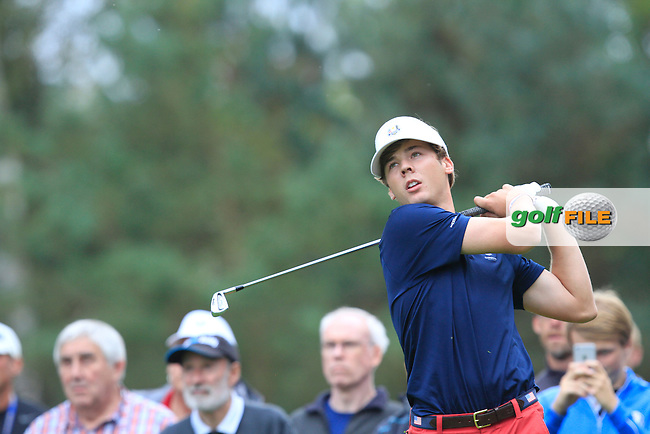 Sam Burns (USA) in the Mixed Fourballs during the 2014 JUNIOR RYDER CUP at the Blairgowrie Golf Club, Perthshire, Scotland. <br /> Picture:  Thos Caffrey / www.golffile.ie