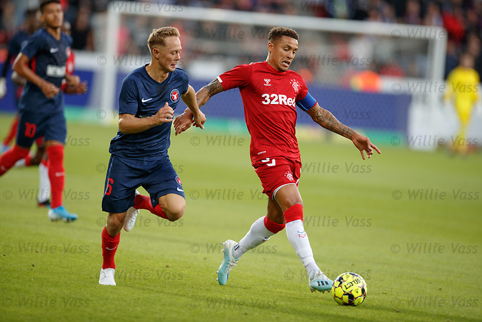 08.08.2019 FC Midtjylland v Rangers: James Tavernier and Joel Andersson