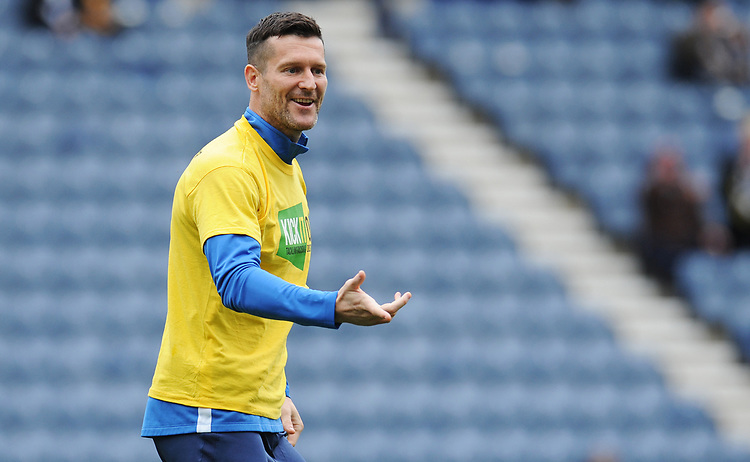 Preston North End's David Nugent during the pre-match warm-up <br /> <br /> Photographer Kevin Barnes/CameraSport<br /> <br /> The EFL Sky Bet Championship - Preston North End v Barnsley - Saturday 5th October 2019 - Deepdale Stadium - Preston<br /> <br /> World Copyright © 2019 CameraSport. All rights reserved. 43 Linden Ave. Countesthorpe. Leicester. England. LE8 5PG - Tel: +44 (0) 116 277 4147 - admin@camerasport.com - www.camerasport.com