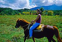 Horseback ride from Princeville Ranch Stables near Princeville, Kaua'i, Hawaii USA