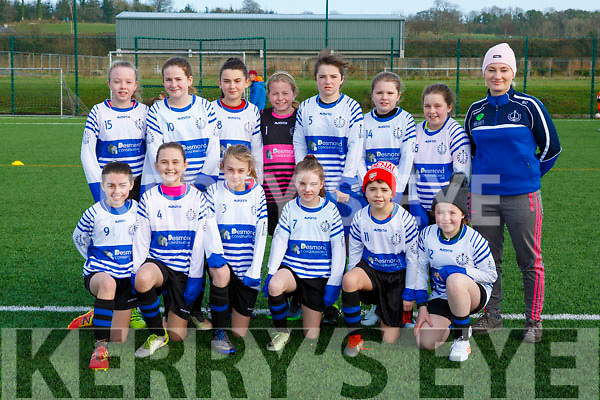 The Inter Kenmare  team that played in the u12 schoolgirls blitz in Celtic Park on Saturday front row  Helena O'Donoghue, Saoirse Buckley, Moya Granville, Tara Desmond, Pheobe O'Shea, Alanna O'Sullivan, back row: Ciara Harrington, Ellie Downing, Laoise Carey, Lucy Harrington, Grace Foley, Lauren O'Shea, Molly Foley, Betty Cremin Coach