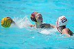 LOS ANGELES, CA - MAY 13: Paige Hauschild #5 of the University of Southern California looks for an open teammate over Kat Klass #10 of Stanford University during the Division I Women's Water Polo Championship held at the Uytengsu Aquatics Center on the USC campus on May 13, 2018 in Los Angeles, California. USC defeated Stanford 5-4. (Photo by Tim Nwachukwu/NCAA Photos via Getty Images)