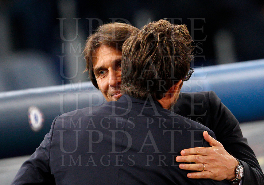 Roma s coach Eusebio Di Francesco, back to camera, greets Chelsea coach Antonio Conte prior to the start of the Champions League Group C soccer match between Roma and Chelsea at Rome's Olympic stadium, October 31, 2017.<br /> UPDATE IMAGES PRESS/Riccardo De Luca