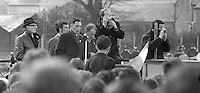 Platform party, annual Easter Sunday Republican Parade to Milltown Cemetery, Belfast, N Ireland, 5th April 1970, 197004050121b<br /> <br /> Copyright Image from Victor Patterson, 54 Dorchester Park, Belfast, UK, BT9 6RJ<br /> <br /> t1: +44 28 9066 1296<br /> t2: +44 28 9002 2446<br /> m: +44 7802 353836<br /> <br /> e1: victorpatterson@me.com<br /> e2: victorpatterson@gmail.com<br /> <br /> IMPORTANT: My Terms and Conditions of Business are at www.victorpatterson.com