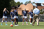13 September 2015: UNC head coach Anson Dorrance (right) talks to his defenders before the game. From left: Julia Ashley, Paige Nielsen, Khara Vassell, Hannah Gardner, and Maya Worth. The University of North Carolina Tar Heels hosted the University of California Los Angeles Bruins at Fetzer Field in Chapel Hill, NC in a 2015 NCAA Division I Women's Soccer game. UNC won the game 3-1.