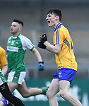 Mark Mc Inerney of  Clare celebrates his first half goal against Limerick during their Munster Minor football quarter final at  Cusack Park. Photograph by John Kelly.