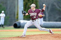 Pitcher Will Detwiler (36) of the College of Charleston Cougars delivers a pitchin a game against the University of South Carolina Upstate Spartans on Tuesday, March 31, 2015, at Cleveland S. Harley Park in Spartanburg, South Carolina. Charleston won, 10-0. (Tom Priddy/Four Seam Images)