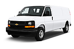 2017 Chevrolet Express 3500 3500 Extended Work Van 4 Door Cargo Van angular front stock photos of front three quarter view