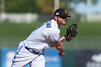 Surprise Saguaros relief pitcher Jackson McClelland (31), of the Toronto Blue Jays organization, follows through on his delivery during an Arizona Fall League game against the Peoria Javelinas at Surprise Stadium on October 17, 2018 in Surprise, Arizona. (Zachary Lucy/Four Seam Images)