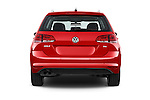 Straight rear view of a 2015 Volkswagen Golf Highline 5 Door Wagon 2WD Rear View  stock images