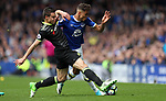 Cesar Azpilicueta of Chelsea and Dominic Calvert-Lewin of Everton during the English Premier League match at Goodison Park , Liverpool. Picture date: April 30th, 2017. Photo credit should read: Lynne Cameron/Sportimage