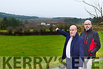 Danny Fleming Tureencahill shows Fred O'Sullivan Chairman of the Sliabh Luachra Awareness group the location of the proposed wind Turbines will travel from Tureencahill looking back to Lisheen