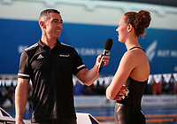 Gina McCarthy interviewed by Scott Rice. New Zealand Short Course Swimming Championships, National Aquatic Centre, Auckland, New Zealand, Tuesday 1st October 2019. Photo: Simon Watts/www.bwmedia.co.nz/SwimmingNZ