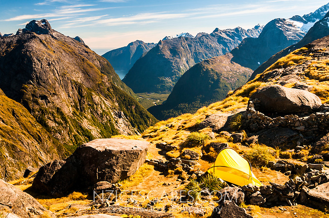 Camping in Gertrude Saddle with stunning views of Cleddau River valley and Milford Sound in distance, Fiordland National Park, Fiordland, Southland, South Island, New Zealand