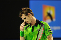 MELBOURNE, 30 JANUARY - Andy Murray (GBR) in action during the men's singles final match against Novak Djokovic (SRB) on day fourteen of the 2011 Australian Open at Melbourne Park, Australia. (Photo Sydney Low / syd-low.com)