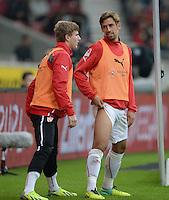 Fussball  1. Bundesliga  Saison 2013/2014  8. Spieltag VfB Stuttgart - SV Werder Bremen     05.10.2013 Rani Khedira (re, VfB Stuttgart) im Gespraech mit Timo Werner (VfB Stuttgart) beim Aufwaermen