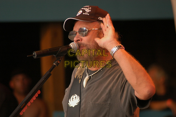 HANK WILLIAMS JR.Jamboree in the Hills  .Morristown, 16th July 2005.stage gig country music festival half length half-length microphone .Ref: Kelly Belcher.www.capitalpictures.com.sales@capitalpictures.com.© Capital Pictures.