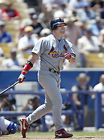 Jim Edmonds of the St. Louis Cardinals bats during a 2002 MLB season game against the Los Angeles Dodgers at Dodger Stadium, in Los Angeles, California. (Larry Goren/Four Seam Images)