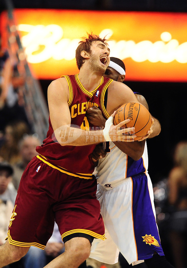Jan. 12, 2012; Phoenix, AZ, USA; Cleveland Cavaliers center Semih Erden during the game against the Phoenix Suns at the US Airways Center. The Cavaliers defeated the Suns 101-90. Mandatory Credit: Mark J. Rebilas-USA TODAY Sports