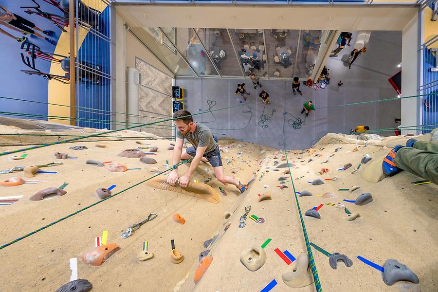 February 22, 2018; Ryan Snodgrass climbs the climbing wall in Duncan Student Center. (Photo by Matt Cashore/University of Notre Dame)