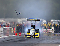 Aug 16, 2014; Brainerd, MN, USA; NHRA top fuel dragster driver Richie Crampton loses his blower belt during qualifying for the Lucas Oil Nationals at Brainerd International Raceway. Mandatory Credit: Mark J. Rebilas-