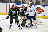 February 24th 2008:  Goalie Barry Brust (33) of the Houston Aeros gets screened as Joe Awe (2) helps defend Anthony Stewart (24) during a game vs. the Rochester Amerks at Blue Cross Arena at the War Memorial in Rochester, NY.  The Aeros defeated the Amerks 4-0.   Photo copyright Mike Janes Photography 2008