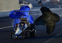 Nov. 9, 2012; Pomona, CA, USA: NHRA top alcohol dragster driver Jim Whiteley during qualifying for the Auto Club Finals at at Auto Club Raceway at Pomona. Mandatory Credit: Mark J. Rebilas-