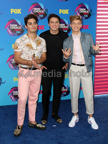 13 August 2017 - Los Angeles, California - Emery Kelly, Liam Attridge, Ricky Garcia of 'Forever On Your Mind'. Teen Choice Awards 2017 Arrivals held at The Galen Center in Los Angeles. Photo Credit: AdMedia