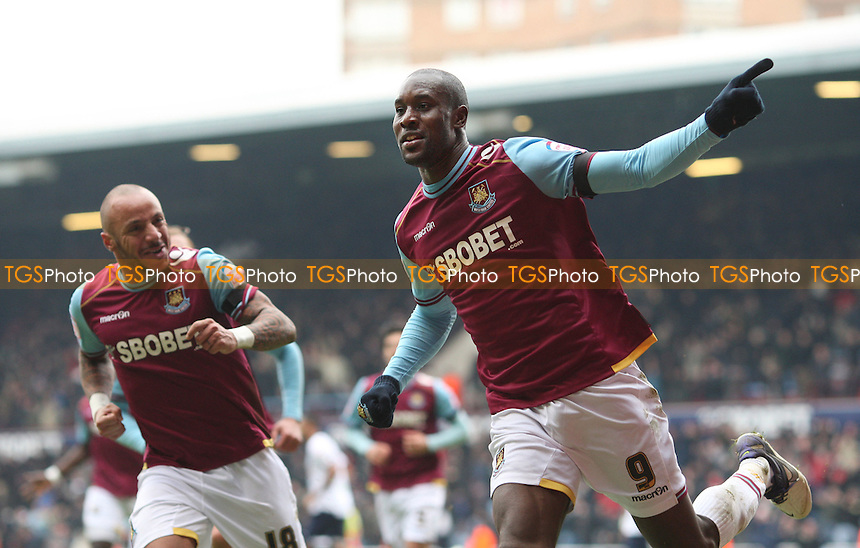 Carlton Cole scores West Ham's 1st goal and celebrates - West Ham United vs Millwall, npower Championship at Upton Park, West Ham - 04/02/12 - MANDATORY CREDIT: Rob Newell/TGSPHOTO - Self billing applies where appropriate - 0845 094 6026 - contact@tgsphoto.co.uk - NO UNPAID USE.
