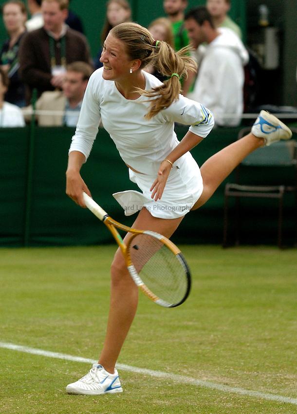 Photo: Richard Lane..Wimbledon Championships. 27/06/2006. .Viktoria Azarenka of Belarus serves.