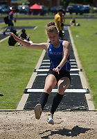 NWA Democrat-Gazette/ANDY SHUPE<br /> Cassidy Bennet of Rogers leaps Wednesday, May 15, 2019, while competing in the long jump portion of the state heptathlon championship at Ramay Junior High School. Visit nwadg.com/photos to see more photographs from the meet.