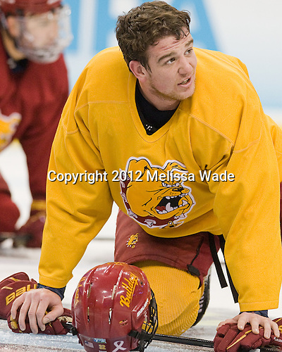 Tommy Hill (FSU - 32) - The Ferris State University Bulldogs practiced on Wednesday, April 4, 2012, during the 2012 Frozen Four at the Tampa Bay Times Forum in Tampa, Florida.
