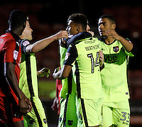 Exeter City's Ollie Watkins is congratulated for his goal during the Sky Bet League 2 match between Crawley Town and Exeter City at Broadfield Stadium, Crawley, England on 28 February 2017. Photo by Carlton Myrie / PRiME Media Images.