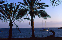 Silhouette of man playing boule agaist the sea and a yacht. Los Cristianos .Tenerife. Canary Islands, Spain,Tenerife. Canary Islands, Spain,palm trees and yacht. Los Cristianos .Tenerife. Canary Islands, Spain,Tenerife. Canary Islands, Spain