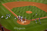 A fight erupts during Dodgers game at Dodger Stadium