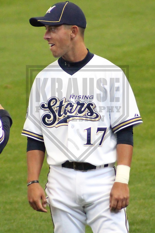 MILWAUKEE - APRIL 2011: Nick Shaw (17) of the Milwaukee Brewers during the team's Rising Stars game on Saturday April 3, 2011 at Miller Park in Milwaukee, Wisconsin. (Photo by Brad Krause) ..