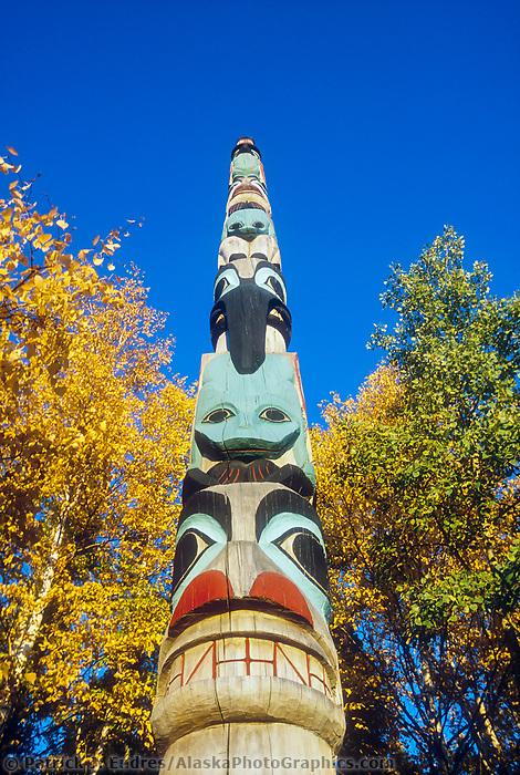 Native Alaskan totem pole carving located at the University of Alaska museum in Fairbanks.