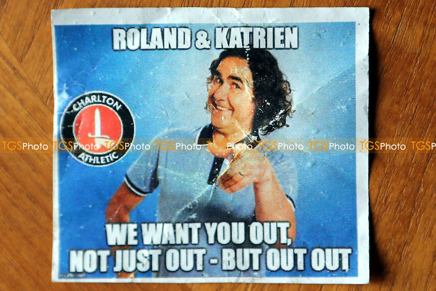 A small sticker urging Roland Duchatelet and Katrien Meire to leave Charlton. In the words of comedian Micky Flanagan 'We Want You Out, Not Just Out - But Out Out during Charlton Athletic vs Chesterfield, Sky Bet EFL League 1 Football at The Valley on 29th October 2016