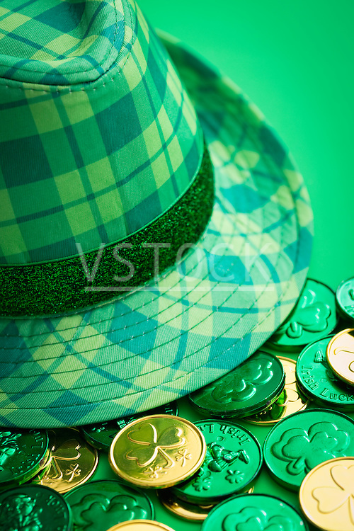 Checked hat and lucky coins
