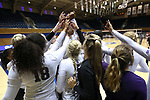 DURHAM, NC - SEPTEMBER 01: Northwestern players huddle before the match. The Northwestern University Wildcats played the University of South Carolina Gamecocks on September 1, 2017 at Cameron Indoor Stadium in Durham, NC in a Division I women's college volleyball match. Northwestern won 3-1 (13-25, 25-18, 25-18, 25-19).