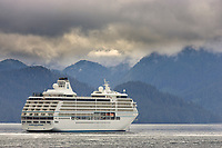 Seven Seas Mariner cruise ship in Sitka Sound, coastal town of Sitka along the Alaska Inside Passage. A favorite stop for tourist.